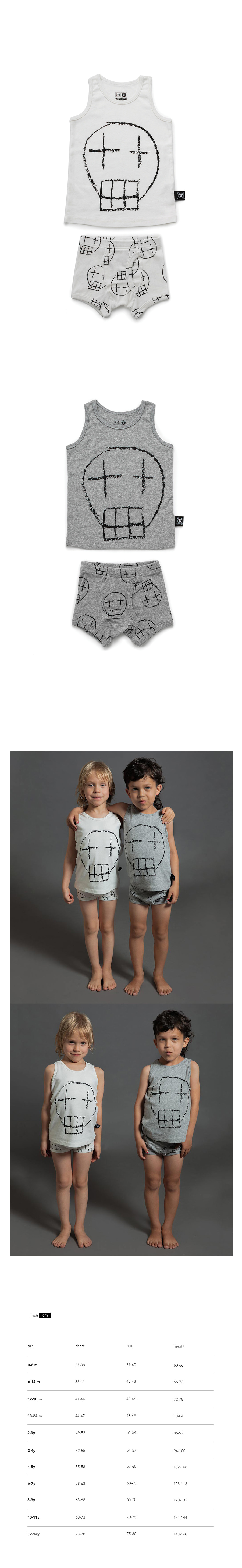 Boys sketch skull underwear set